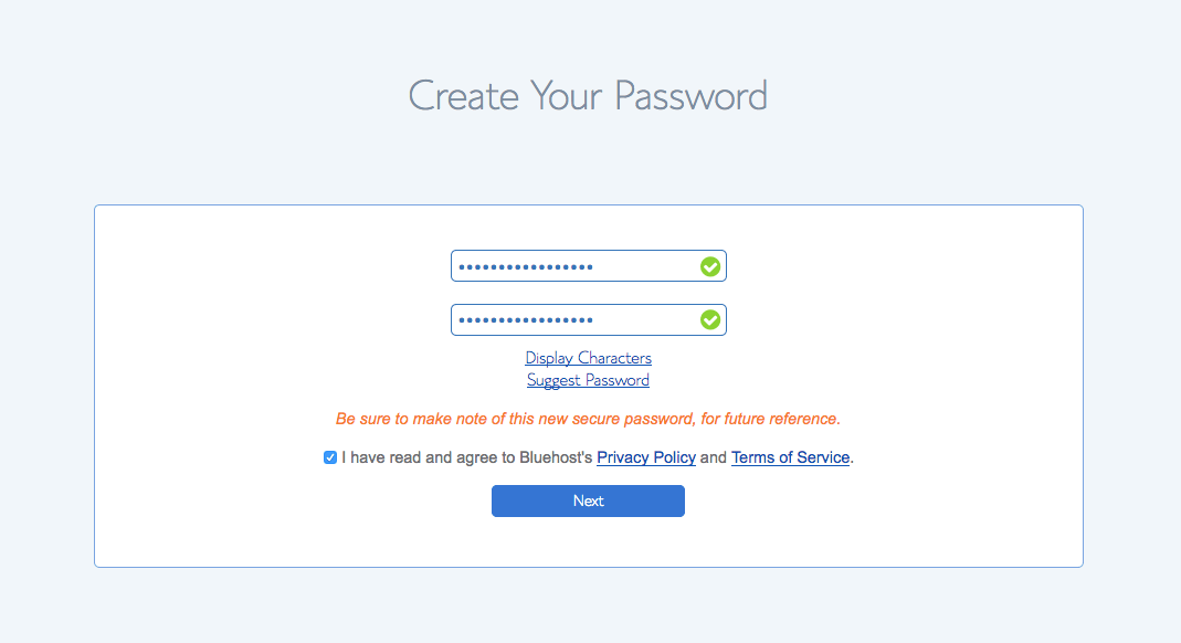 bluehost-creat-password-conformation