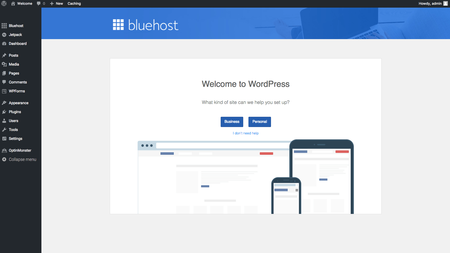 bluehost-wordpress-dasboard