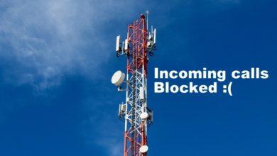 Indian telecom incoming calls blocked