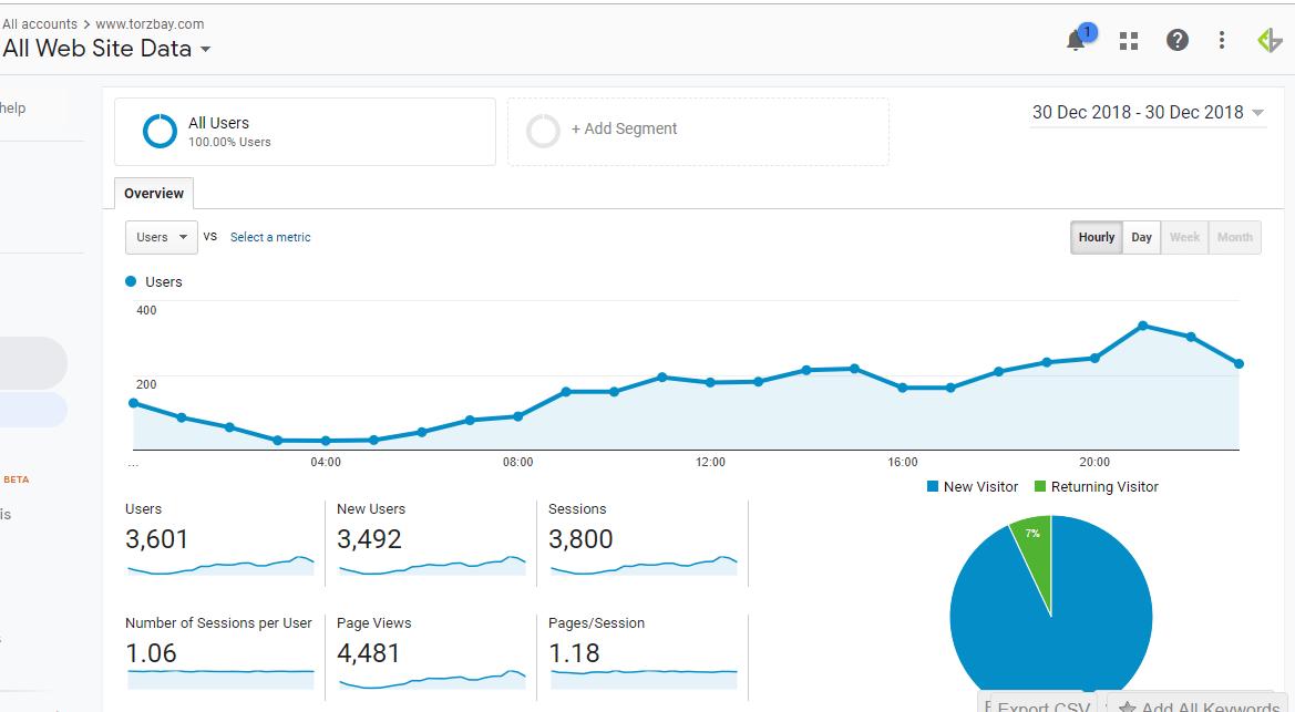 Traffic report Google Analytics