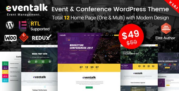 EvenTalk v1.5.3 - Event Conference WordPress Premium Theme Free Download!
