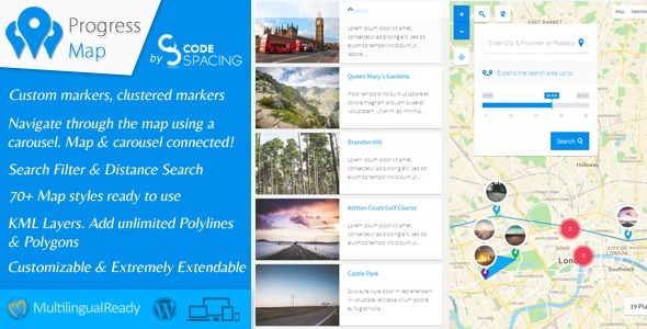 WPlocker-Progress Map WordPress Plugin v4.9!